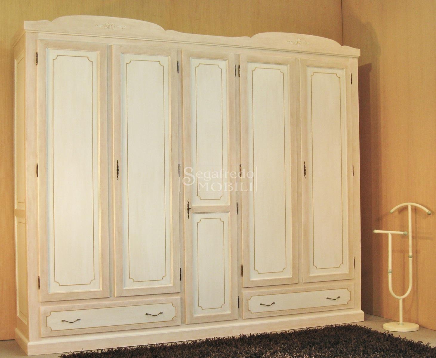 Decorazione Ante Armadio : Armadio laccato e decorato a mano a 5 ante battenti mobilificio