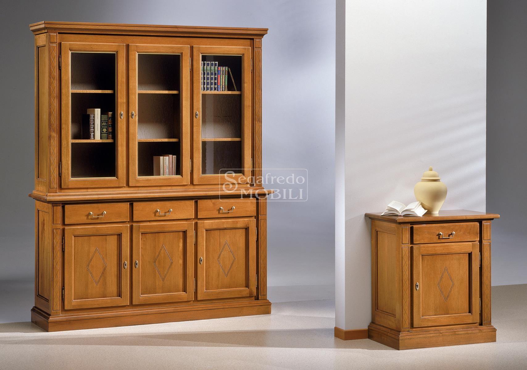 Credenza Con Libreria : Credenza in legno massiccio con alzata cristalliera libreria