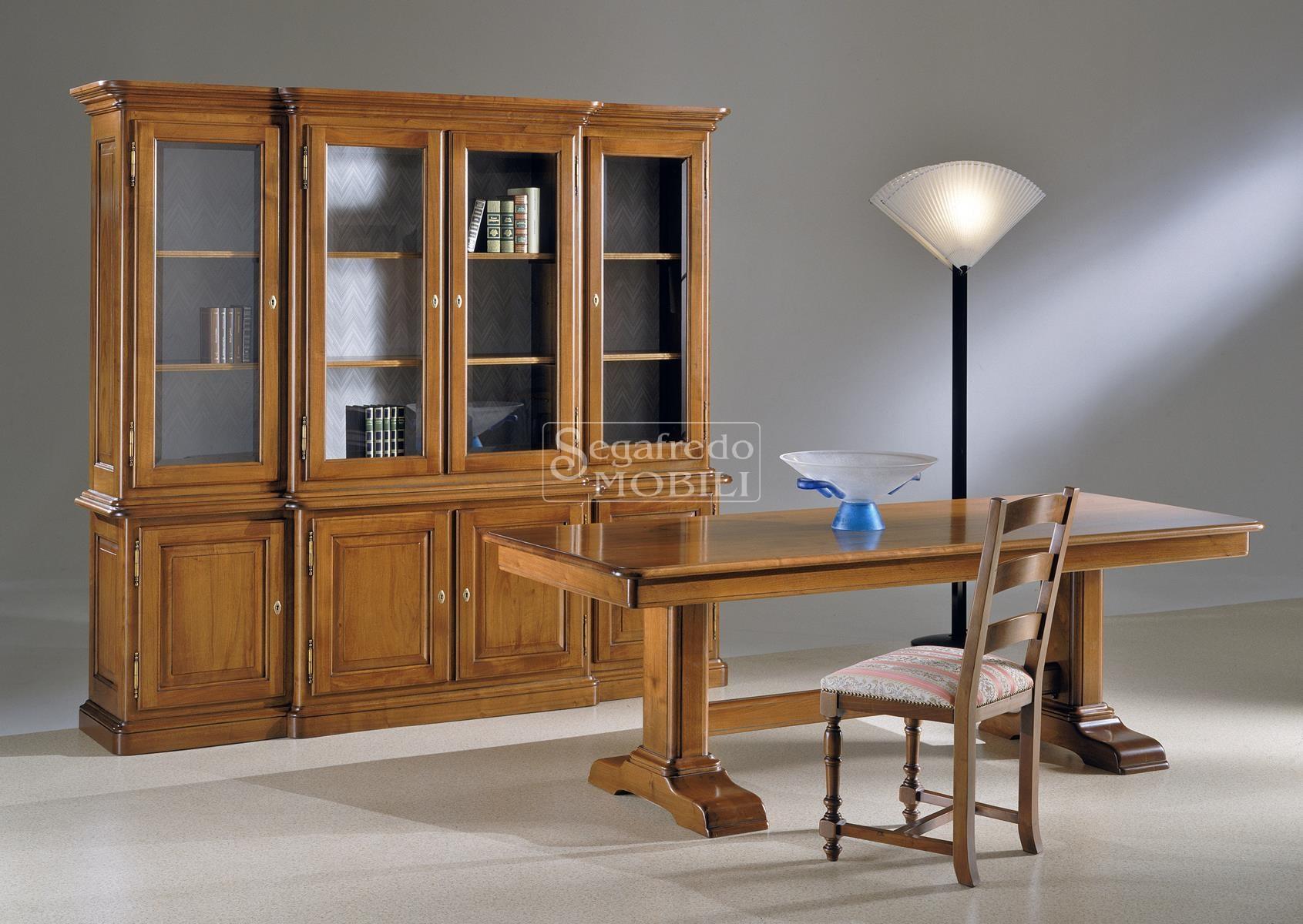 Credenza Con Libreria : Credenza in legno massello con alzata libreria cristalliera a