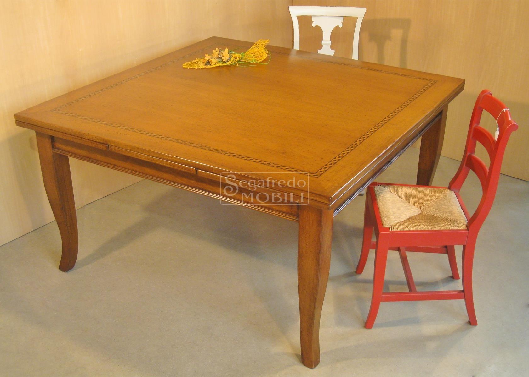 Tavolo da pranzo quadrato allungabile in legno massello - Tavolo da pranzo quadrato ...