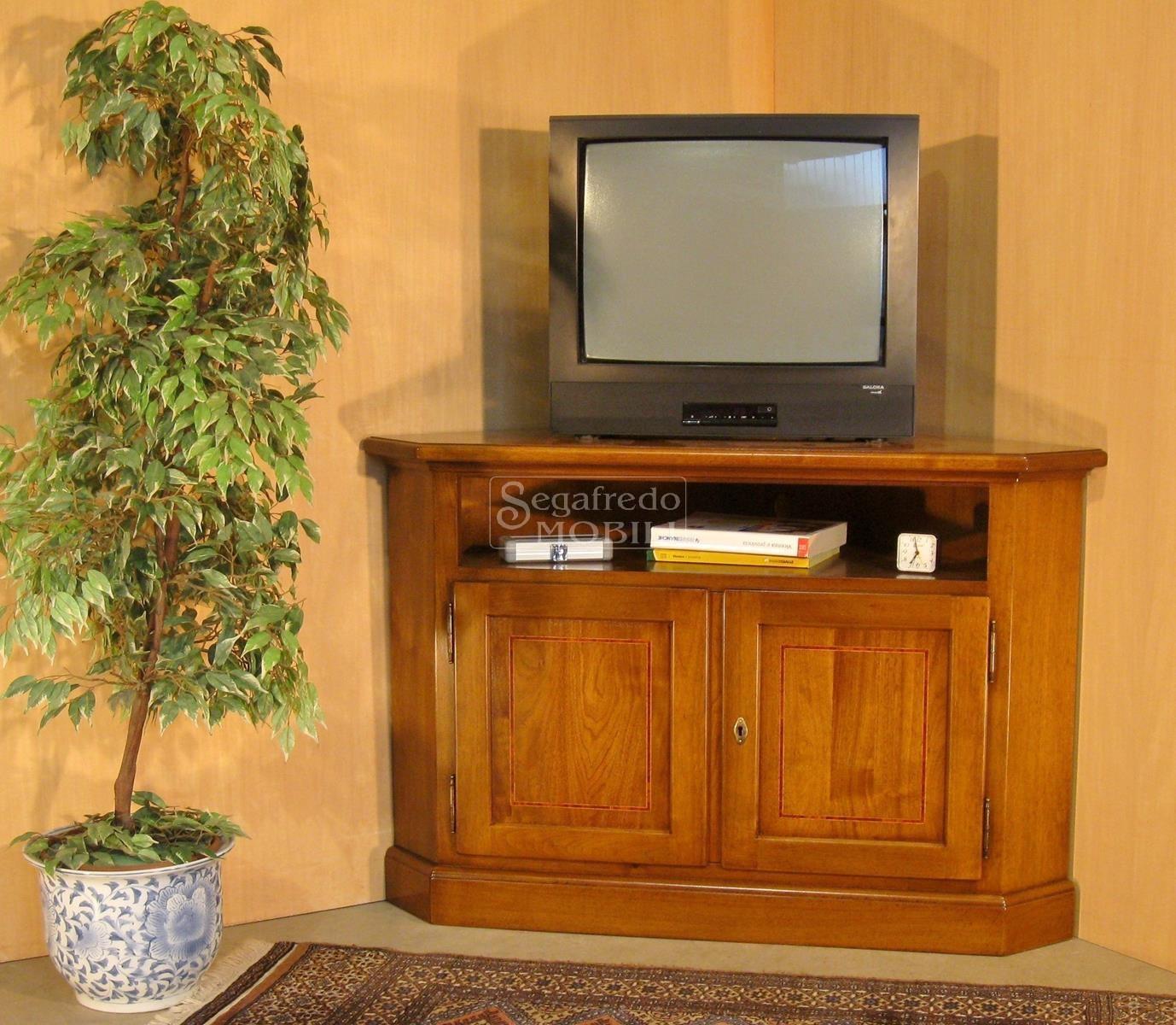 Porta tv ad angolo in legno massiccio mobilificio segafredo mobili arredamenti su misura - Mobili per tv ad angolo ...