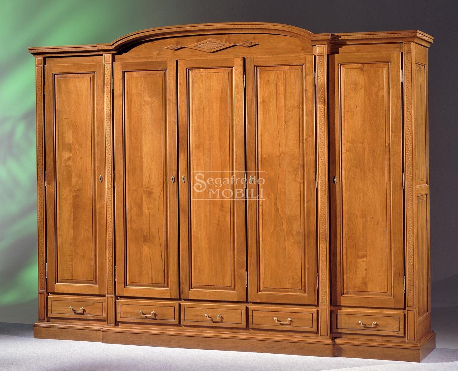 Armadio mod elena in legno massiccio a 5 ante a corpo - Mobili in abete massiccio ...