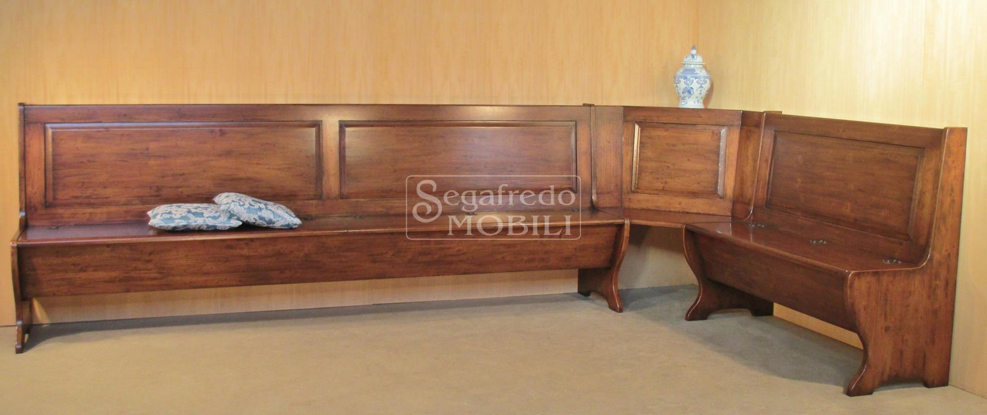 Cassapanca con angolo in legno di abete massiccio - Mobili in abete massiccio ...