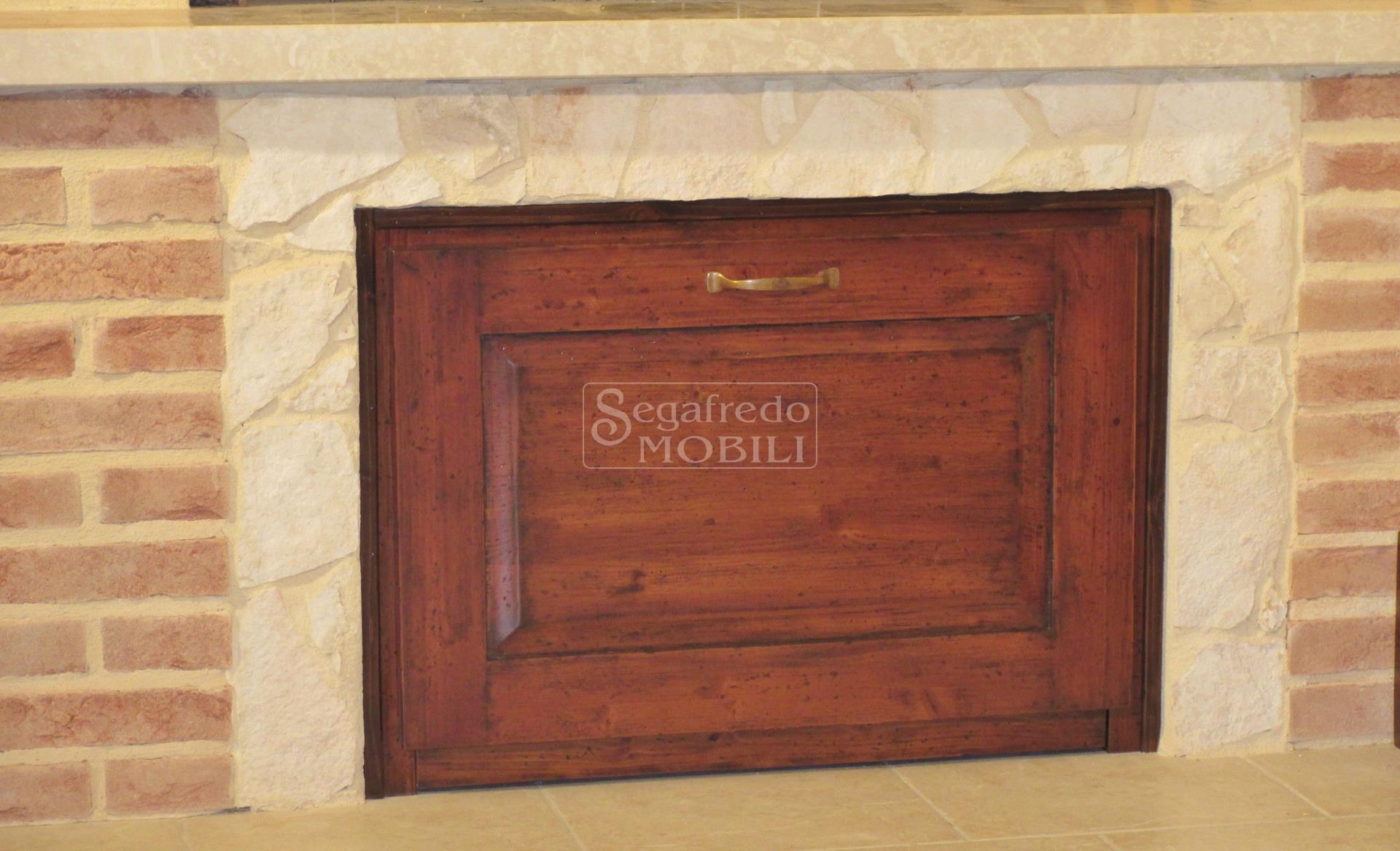 Cassettone porta legna estraibile in legno massiccio - Mobili in abete massiccio ...