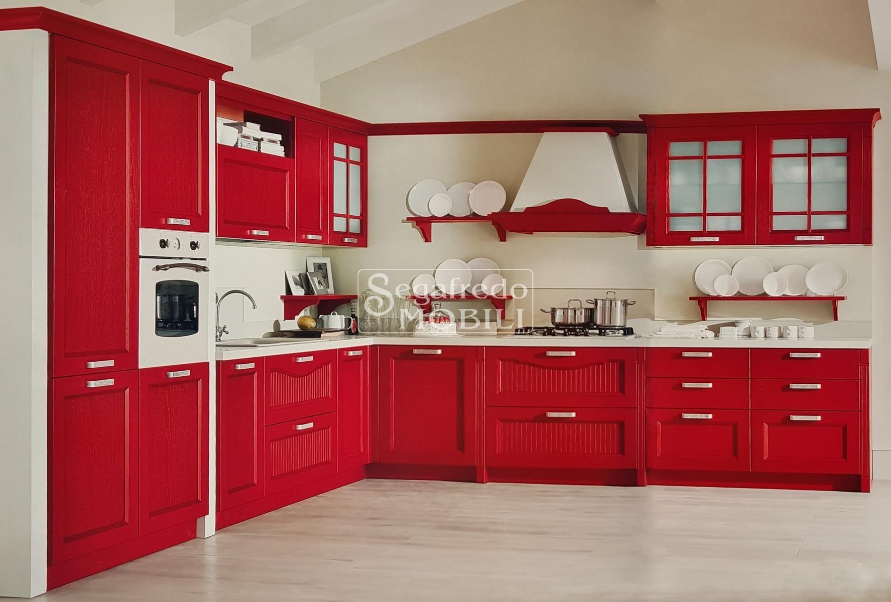 Cucina in frassino spazzolato laccato rosso rubino - La cucina di rossella ...