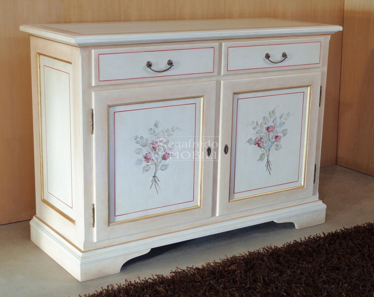 Credenza Con Alzata Due Ante : Credenza a 2 ante laccata e decorata mano mobilificio