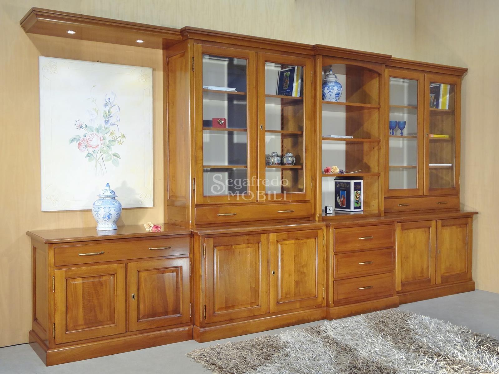 Mobile a parete libreria in legno massello mobilificio segafredo mobili arredamenti su - Mobile libreria a parete ...