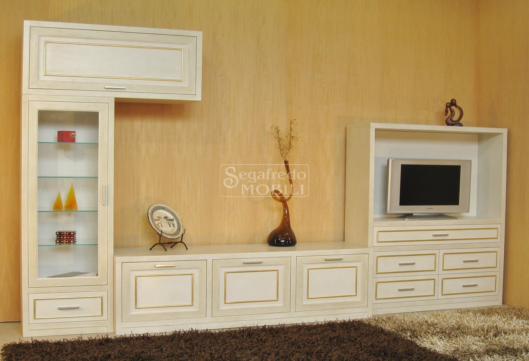 Parete attrezzata su misura laccata a mano da soggiorno mobilificio segafredo mobili - Mobili soggiorno su misura ...